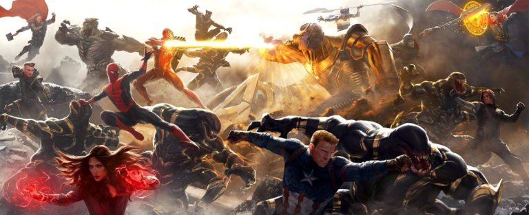 Avengers: Endgame konceptna umjetnost prikazuje Kapetana Ameriku kako gleda na Thanosa i njegovu vojsku