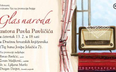 """Mozaik knjiga vas poziva na promociju knjige """"Glas naroda"""" autora Pavla Pavličića"""